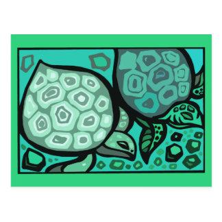 Aqua-Schildkröten Postkarte
