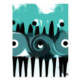 Aqua, Schwarzweiss-abstraktes Postkarte