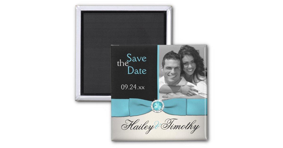 aqua silber und schw rzen save the date quadratischer magnet zazzle. Black Bedroom Furniture Sets. Home Design Ideas