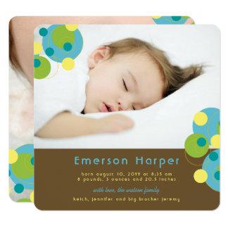 Aqua-sprudelnde Kreis-Baby-Geburts-Mitteilung Quadratische 13,3 Cm Einladungskarte