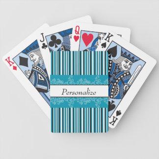 Aqua-Streifen und Locken Bicycle Spielkarten