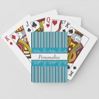 Aqua-Streifen und Locken Spielkarten