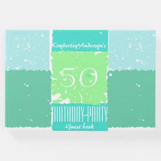 Aqua-tadelloses grüne Farb50. Geburtstag Gast-Buch Gästebuch