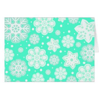Aqua-tadelloses Weihnachtsschneeflocke-Muster Karte