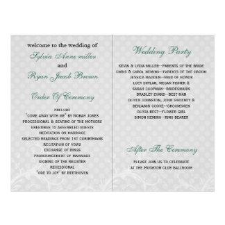 Aqua-Tupfenblumenbuchfalte Hochzeitsprogramm