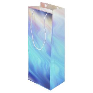 Aqua-Türkis-Lavendel-Wellen Geschenktüte Für Weinflaschen