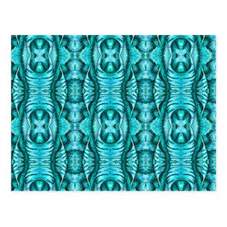 Aqua-Türkis-Ozean-Flügel-Bio Muster Postkarte