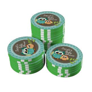 Aqua-Türkis-Retro Eulen-Babyparty Poker Chips Sets