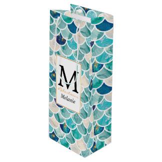 Aqua-Türkismarmormeerjungfrau-Fischskalen Geschenktüte Für Weinflaschen