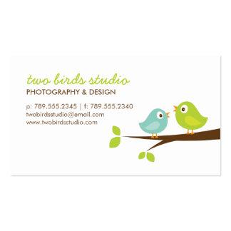 Aqua u. Grün-niedliche Vögel auf einer Visitenkarten