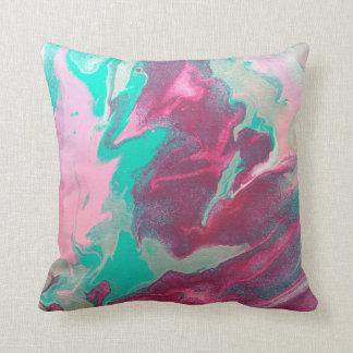 Aqua u. Rosa-abstraktes Kissen