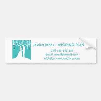 Aqua u. weiße Braut-und Bräutigam-Hochzeits-Silhou Autoaufkleber