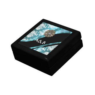 Aqua u. weißer Damast mit Imitatkristaledelstein Schmuckschachtel