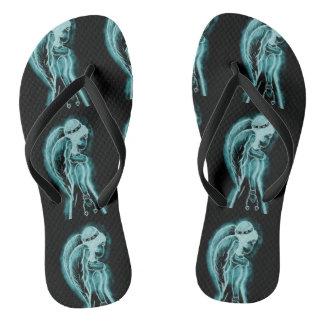 Aqua umgekehrter Engel Flip Flops
