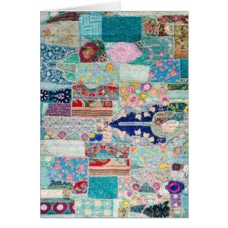Aqua and Blue Quilt Tapestry Design