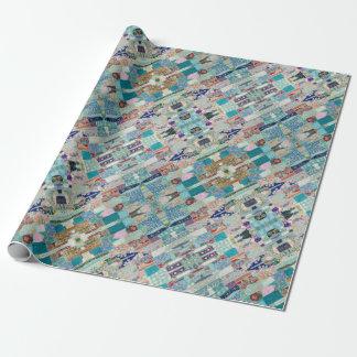 Aqua und blauer Steppdecken-Tapisserie-Entwurf Geschenkpapier