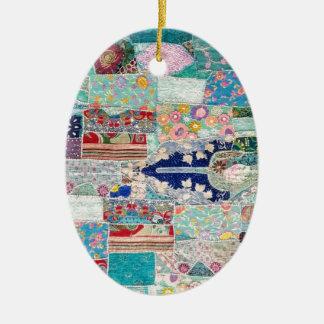 Aqua und blauer Steppdecken-Tapisserie-Entwurf Keramik Ornament