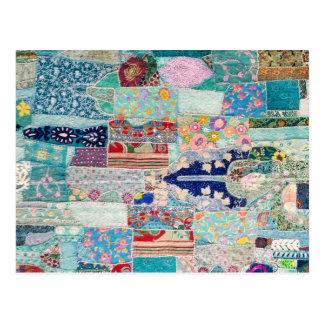 Aqua und blauer Steppdecken-Tapisserie-Entwurf Postkarte