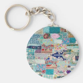 Aqua und blauer Steppdecken-Tapisserie-Entwurf Schlüsselanhänger