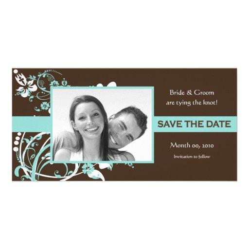 Aqua-und BrownblumenSave the Date Foto-Karten Photokarte