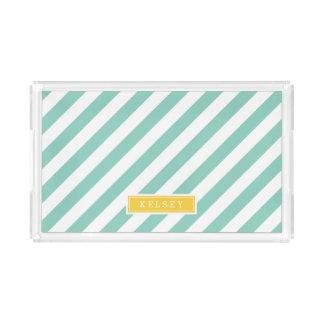 Aqua und Gelb-adrettes Streifen-Monogramm Acryl Tablett