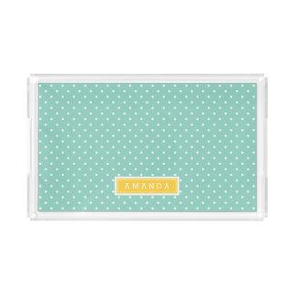 Aqua und Gelb-kleines Punkt-Monogramm Acryl Tablett