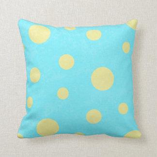Aqua und gelbes Tupfenmuster Kissen
