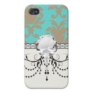 Aqua und hellbrauner formaler Damast iPhone 4 Hülle
