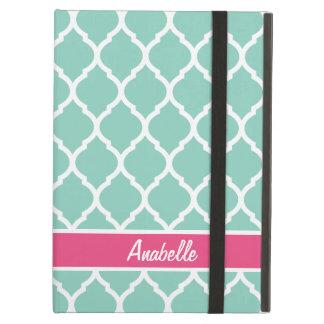 Aqua und rosa Quatrefoil Monogramm