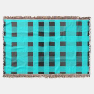 Aqua und Schwarz-Gingham-Gemusterte Wurfs-Decke Decke