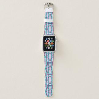 Aqua-violette weiße Jutefaser-Leinwand Apple Watch Armband