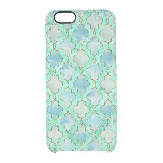 Aquagold und grünes Maroccan Muster Durchsichtige iPhone 6/6S Hülle