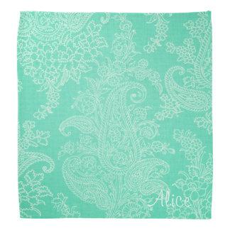 Aquagrüner Blumenpaisley-Damast Halstuch