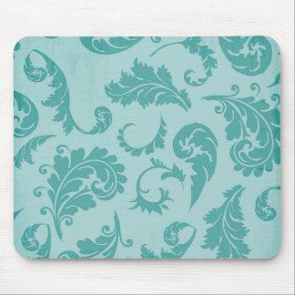 Aquamarin blühen Sie Türkis-Damast-Blumentapete Mousepad