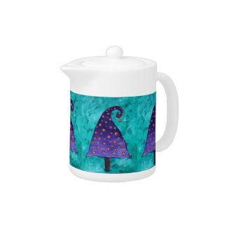 Aquamarin mit lila Weihnachtsbaum-Muster