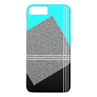 Aquamarin und schwarz mit silbernem Quadrat iPhone 8 Plus/7 Plus Hülle