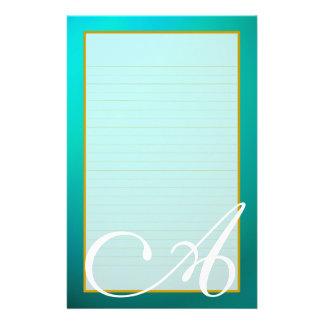 Aquamarine Aquamarine-Monogramm-Geldstrafe Briefpapier