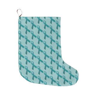 Aquamarine Bänder deckten Muster mit Ziegeln Großer Weihnachtsstrumpf