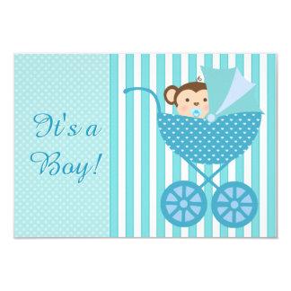 Aquamarine blaue Affe-Baby-Dusche 8,9 X 12,7 Cm Einladungskarte