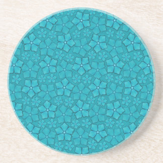 Aquamarine blaue Blumen Sandstein Untersetzer