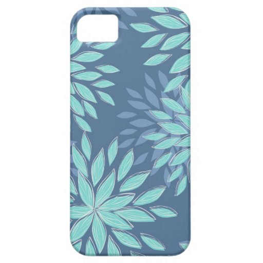 Aquamarine blaue Blüten-abstrakter Kasten iPhone5 iPhone 5 Hülle
