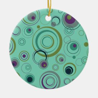 Aquamarine, blaue, grüne und lila Playful Retro Rundes Keramik Ornament
