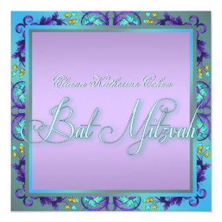 Aquamarine blaue lila Schläger Mitzvah Einladungen