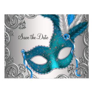 Aquamarine blaue Maskerade Save the Date Postkarte