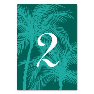 Aquamarine blaue Palme-Tischnummern Karte
