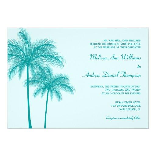 Aquamarine blaue Palme-tropische Hochzeit Personalisierte Einladungskarte