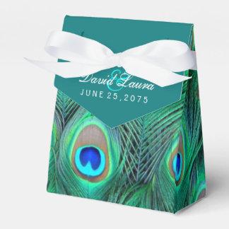 Aquamarine blaue Pfau-Hochzeit Geschenkkartons