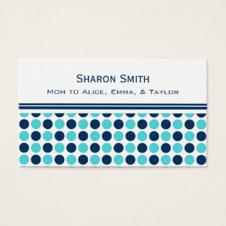 Aquamarine blaue Punkt-Muster-Mamma-nennende Visitenkarte
