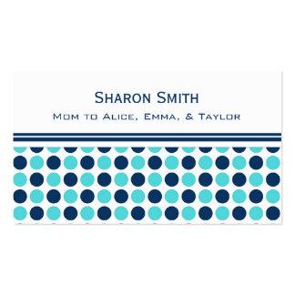 Aquamarine blaue Punkt-Muster-Mamma-nennende Visitenkarten