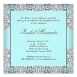 Aquamarine blaue silberne Spitze Quinceanera Personalisierte Einladungskarte